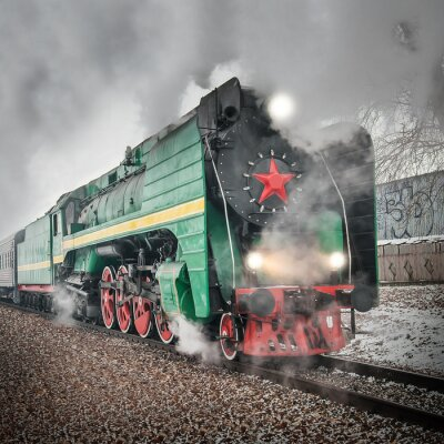 Posters Train de voyageurs à vapeur rétro va vite.