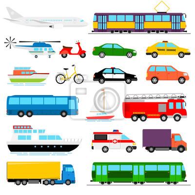 Posters Transport urbain illustration vectorielle en couleur. Transport de la ville