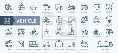 Posters Transport, vehicle and delivery elements - minimal thin line web icon set. Outline icons collection. Simple vector illustration.