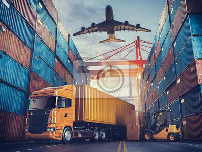 Posters Transportation and logistics of Container Cargo ship and Cargo plane.