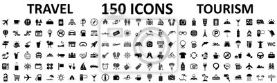 Posters Travel and tourism set 150 icons, vocation signs for web development apps, websites, infographics, design elements – stock vector