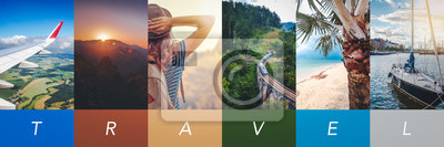 Posters Travel concept background. Summer concept.  Header format with copyspace, vertical stories
