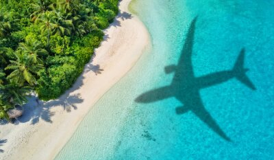 Posters Travel concept with airplane shadow and beach