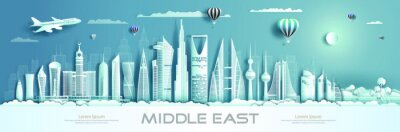 Posters Travel to middle east landmarks of asia with modern architecture.