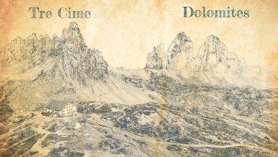 Posters Tre Cime di Lavaredo in Dolomites, Italy, sketch on paper