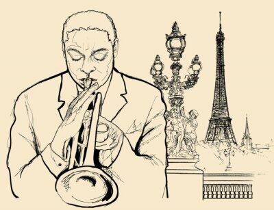 Posters trompettiste de jazz sur le pont Alexandre à Paris (dessins à la plume d'encre)