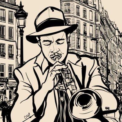 Posters trompettiste sur un fond de paysage urbain