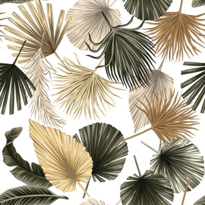 Posters Tropical floral dried palm leaves seamless pattern white background. Exotic jungle wallpaper.