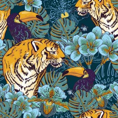 Posters Tropical fond floral avec Tiger