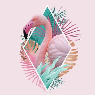 Posters tropical leaves flamingo design in light pink, turquoise and golden colors, can be used as background, wallpaper