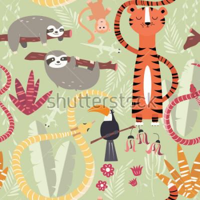 Posters Tropicale mignon, serpent, paresse, illustration vectorielle, modèle sans couture avec animaux