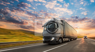 Posters Truck with container on highway, cargo transportation concept. Shaving effect.
