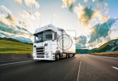 Posters Truck with container on road, cargo transportation concept.