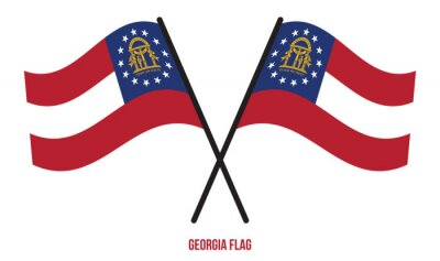 Posters Two Crossed Waving Georgia Flag On Isolated White Background.