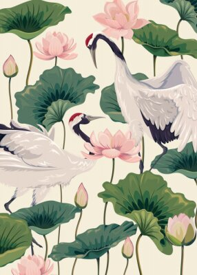 Posters two japanese cranes and pink lotus