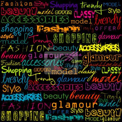 Typoghraphy colorée avec des mots de la mode