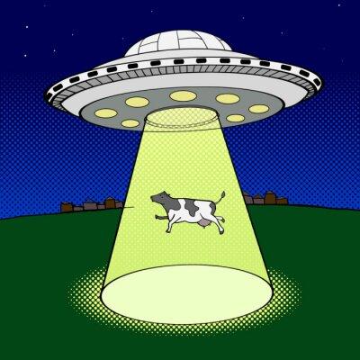 Posters Ufo prend cow style pop art vecteur