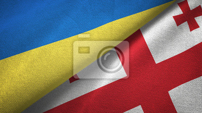 Posters Ukraine and Georgia two flags textile cloth, fabric texture