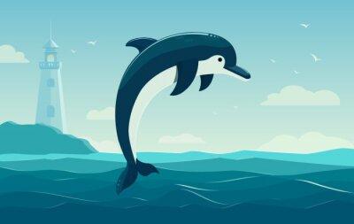 Posters Un dauphin de saut, fond bleu de mer avec des vagues et un phare. Illustration vectorielle