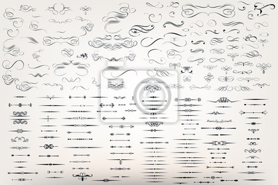 Posters Un énorme ensemble ou une collection de fleurs de filigrane vectoriel pour le design