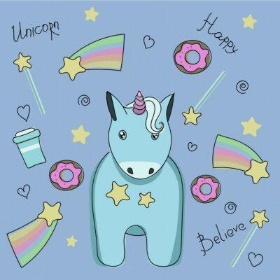 Posters Un ensemble d'autocollants avec licorne, bonbons et étoiles.