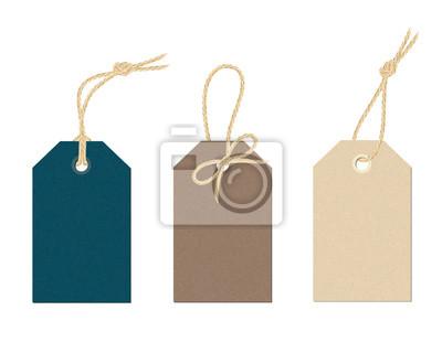 Posters Un ensemble d'étiquettes de cartons vectoriels avec différentes ficelles de lin. Cartes d'étiquettes en couleur liées aux nœuds et à l'arc de l'illustration du cordon en toile de lin réaliste.