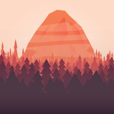 Posters Un fond de forêt et de montagne coucher de soleil illustré