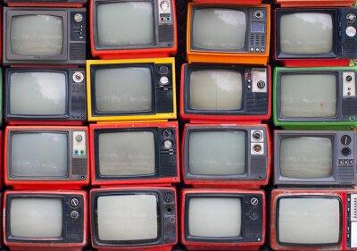 Posters Un mur de vieux téléviseurs à lampes vintage