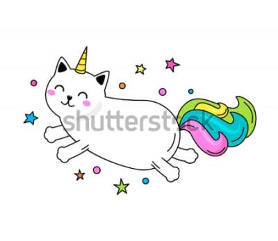 Posters Un personnage de chat licorne drôle saute à travers le ciel. Illustration vectorielle plane