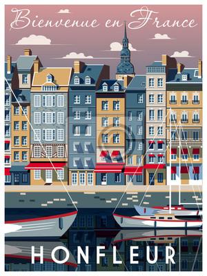 Une journée ensoleillée dans le port de Honfleur, Normandie, France. Illustration vectorielle de dessin à la main. Style vintage. Tous les bâtiments - objets différents personnalisables.