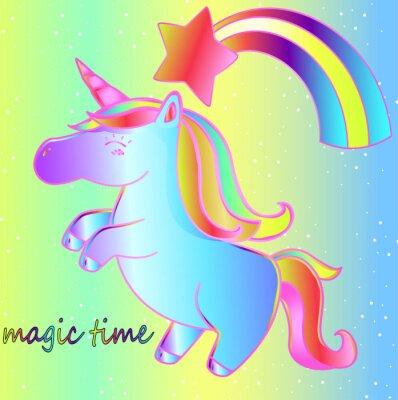 Posters Une licorne et un arc-en-ciel sur un fond de néon lumineux est un moment magique. Affiche de conte de fées pour enfants