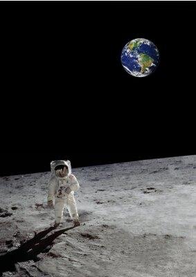 Posters Une promenade lunaire sous la terre brillante (certains éléments gracieusement de la nasa)
