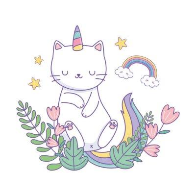 Posters Unicorn cat cartoon vector design