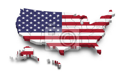 Posters United states of america map and flag . 3D shape design . Independence day of USA concept . Perspective view . Vector