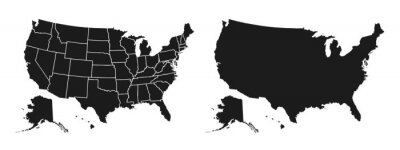 Posters United States of America map. USA map with and without states isolated – stock vector
