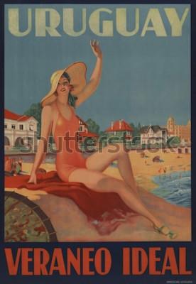 Posters Uruguay, Veraneo Idéal. L'affiche de voyage des années 1930 montre une belle baigneuse à la plage.