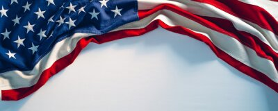 Posters US flag on white paint texture. 4th of July USA Independence Day banner copy space