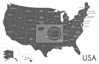 Posters USA Carte illustration vectorielle isolé sur fond blanc. Couches modifiables et clairement étiquetées.