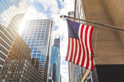 Posters USA, drapeau, Chicago, gratte-ciel, fond