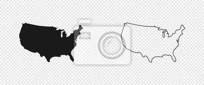 Posters USA map. American map. United States of America map in flat and lines design