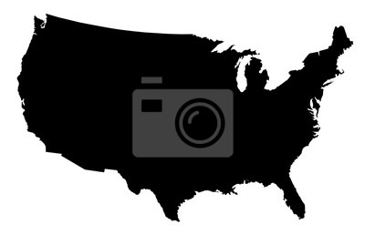 Posters USA Map Black Silhouette
