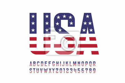 Posters USA national flag style font, alphabet letters and numbers
