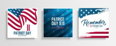 Posters USA Patriot Day cards set. We will never forget. United States National Day of Prayer and Remembrance for the Victims of the Terrorist Attacks on September 11. Vector illustration.