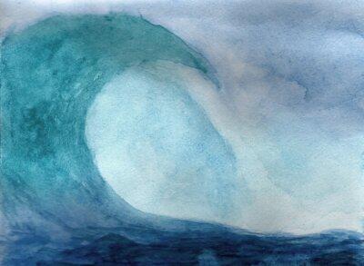 Posters Vague océan à l'aquarelle