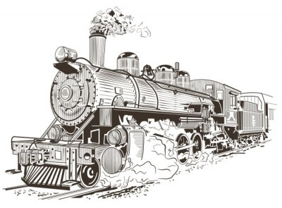 Posters Vapeur, locomotive, Illustration, vendange, Style