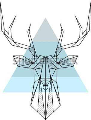 Posters Vecteur abstrait géométrique hipster avec Cerf