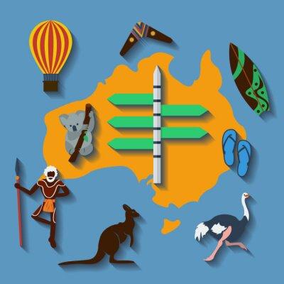 Posters Vecteur Australie Voyage plat couleur
