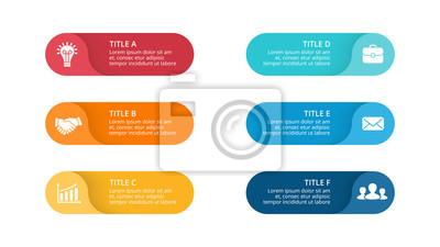 Posters Vecteur cercle flèches infographique, diagramme de cycle, graphique d'étiquettes, tableau de présentation des autocollants. Concept d'entreprise avec 6 options, pièces, étapes et processus. Modèle de