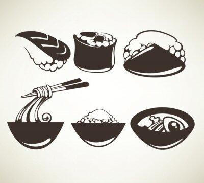 Posters vecteur collection de symboles de la cuisine japonaise