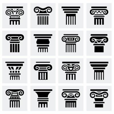 Posters Vecteur, colonne, icône, ensemble